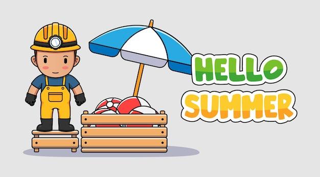 こんにちは夏の挨拶バナーとかわいい鉱夫