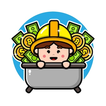 Симпатичный шахтер с дизайном персонажей денег и монеты