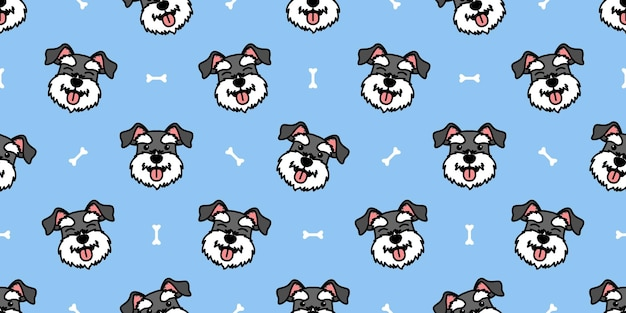 Cute miniature schnauzer dog cartoon seamless pattern, vector illustration