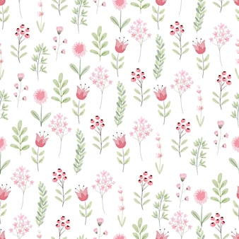 Cute minimal watercolor botanical flower for spring seamless pattern