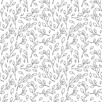Cute  minimalist monoline scandinavian seamless pattern with cartoon tree branches