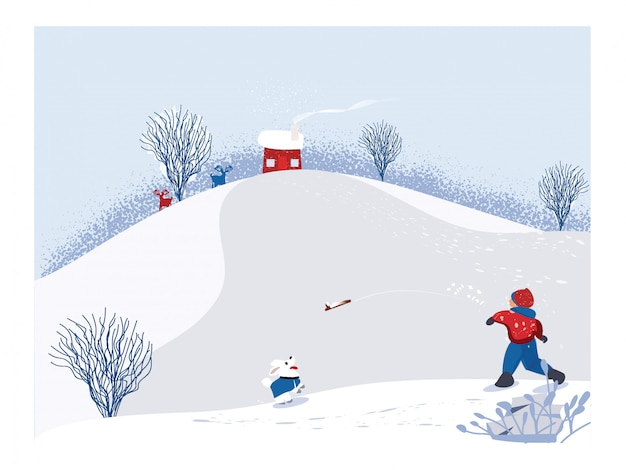 겨울 시즌의 귀여운 미니 멀 벡터입니다. 강아지와 함께 나무 막대기를 재생하는 행복 한 아이와 눈 덮인 겨울 풍경의 경치. 소나무 언덕과 낙 엽 나무와 소나무와 하얀 눈. 화이트, 블루와 레드 색상