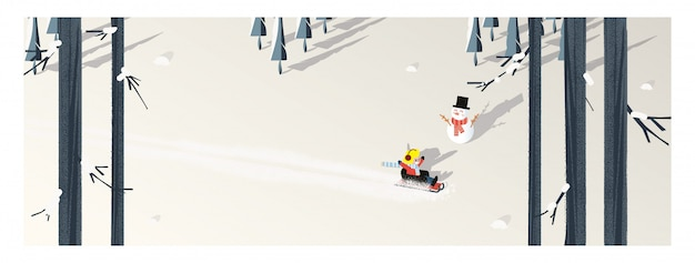 Cute minimalist vector of winter season.panoramic snowey winter landscape with happy kid riding on sleigh.pine tree and snowman shadow laid on white snow with yellow foliage and deciduous forest.