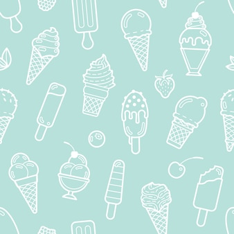 Cute mint seamless pattern with ice creams