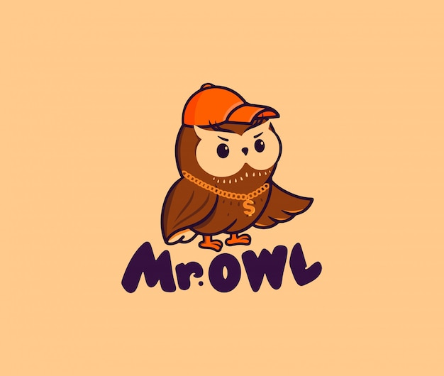 The cute mister owl with a gold chain and a cap. vector logo, cartoon character