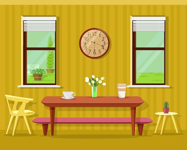 Милый современный интерьер столовой: стол с кофейными чашками и цветами, стулья, часы и окна. комплект кухонной мебели.