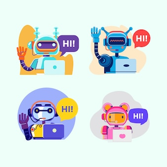Cute modern robot presenter or chat bot sign for support service concept