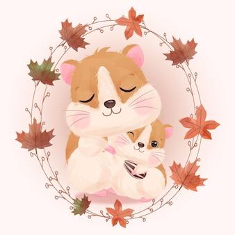 수채화로 귀여운 엄마와 아기 햄스터 그림