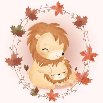 수채화로 귀여운 엄마와 아기 사자 그림
