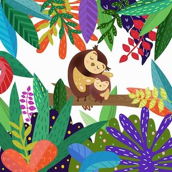 かわいいお母さんとカラフルな森の漫画の赤ちゃんフクロウ。