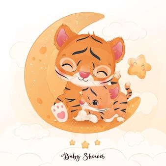 かわいいママと赤ちゃんの虎が水彩イラストで一緒に遊んでいます