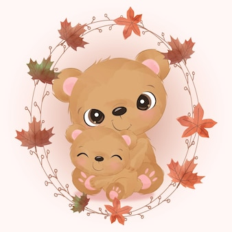 Cute mom and baby bear illustration in watercolor