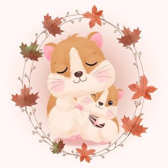 Cute mom and baby hamster illustration in watercolor