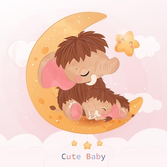 Cute mom and baby mammoth playing together in watercolor illustration