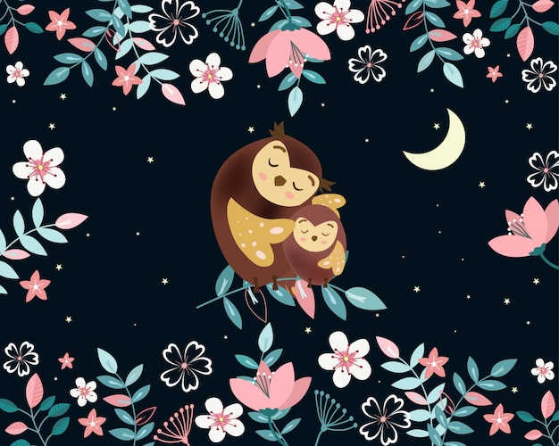 Cute mom and baby owl in night garden cartoon.
