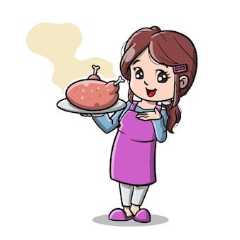 感謝祭の漫画のためのローストチキンを調理するかわいいお母さん