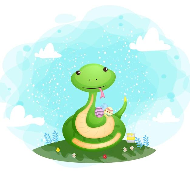 Милая мама-змея с декоративными яйцами с пасхальным днем