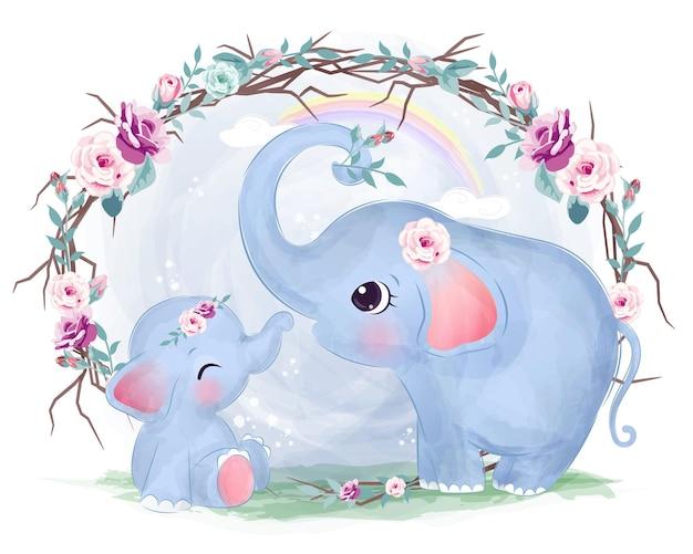 Милая мама и слоненок в акварели