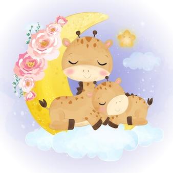 水彩でかわいいママと赤ちゃんキリンのイラスト