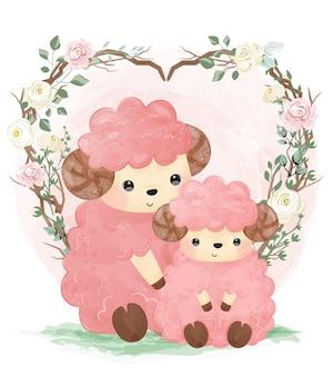 水彩と花のかわいいママと子羊
