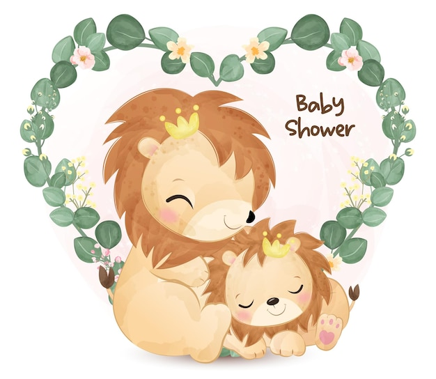 かわいいママと赤ちゃんライオンのイラスト