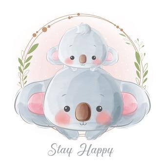 Cute mommy and baby koala in wreath