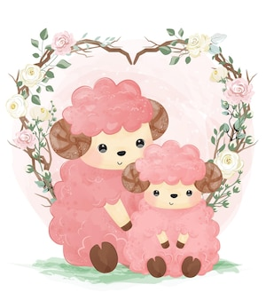Cute mommy and baby lamb in watercolor and flowers