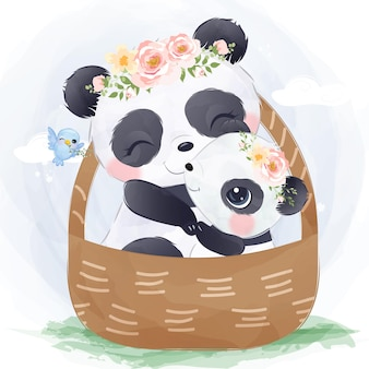 Cute mommy and baby panda illustration