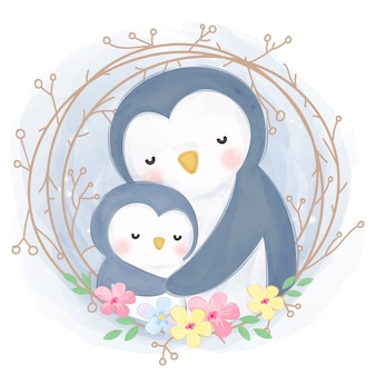 Cute mommy and baby penguin illustration