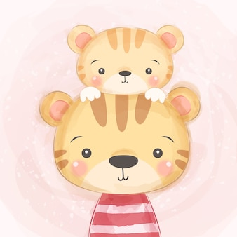 Cute mommy and baby tiger illustration
