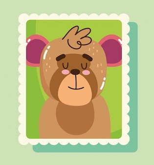 Cute moneky portrait in postage mail stamp