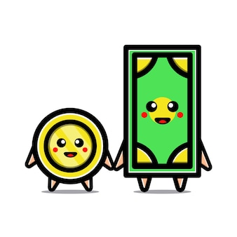 Cute money dollar coin and bill characters