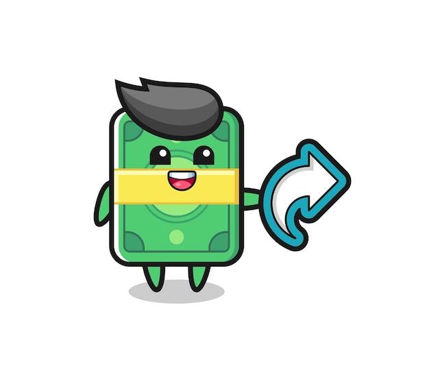 Cute money hold social media share symbol , cute style design for t shirt, sticker, logo element