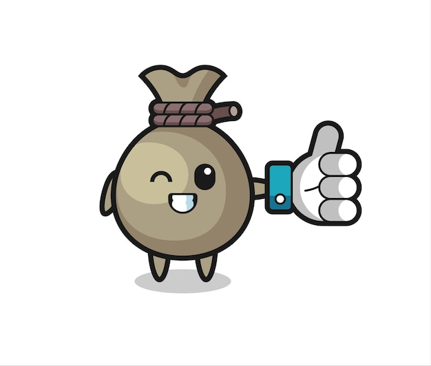 Cute money sack with social media thumbs up symbol , cute style design for t shirt, sticker, logo element