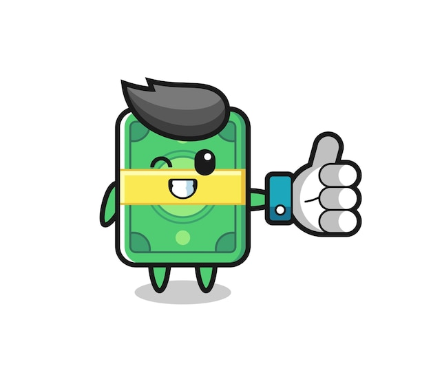 Cute money with social media thumbs up symbol , cute style design for t shirt, sticker, logo element