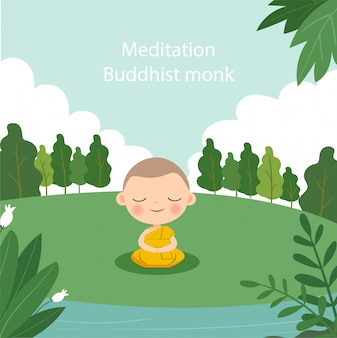Cute monk cartoon make meditation under the tree
