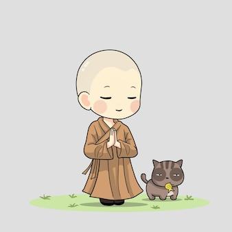 귀여운 스님 기도 만화 예술 그림