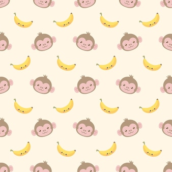 귀여운 원숭이와 바나나가 보이지 않는 패턴