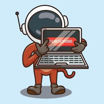 Cute monkey astronaut cartoon following to subscribe vector design