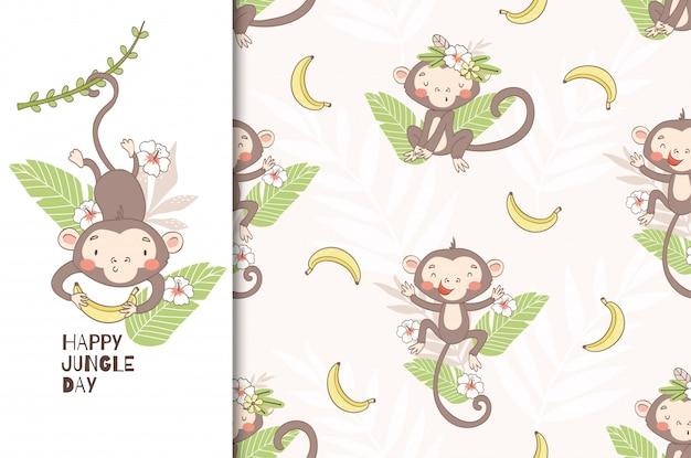 かわいい猿の赤ちゃん。ツルの上で揺れ、バナナを握る。シームレスパターン