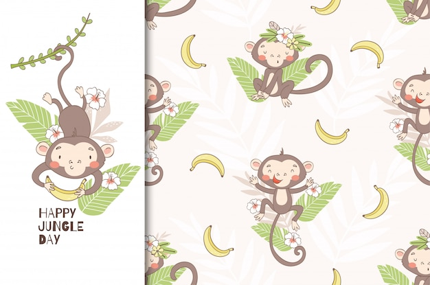 Cute monkey baby. swinging on vines and holding banana. seamless pattern
