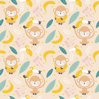 Cute monkey and banana seamless pattern / background