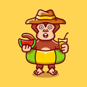 Cute monkey in beach hat with swim rings carrying watermelon and drink