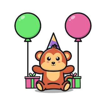 Cute monkey birthday party with gift and balloon cartoon illustration