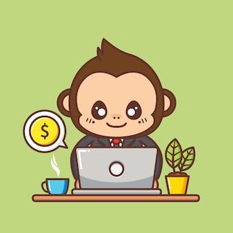 귀여운 원숭이 비즈니스 컨셉 일러스트