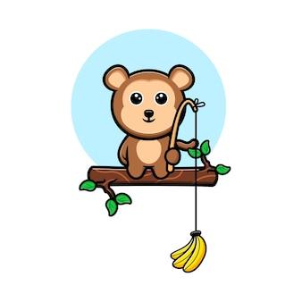 Cute monkey cacthing banana with hook  cartoon mascot