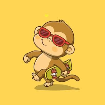 스케이트 보드 그림을 들고 귀여운 원숭이