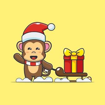 Cute monkey carrying christmas gift box cute christmas cartoon illustration