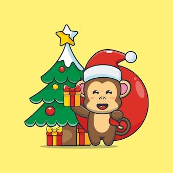 Cute monkey carrying christmas gift cute christmas cartoon illustration