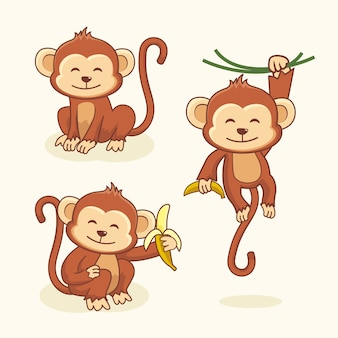 Cute monkey cartoon chimp animal set